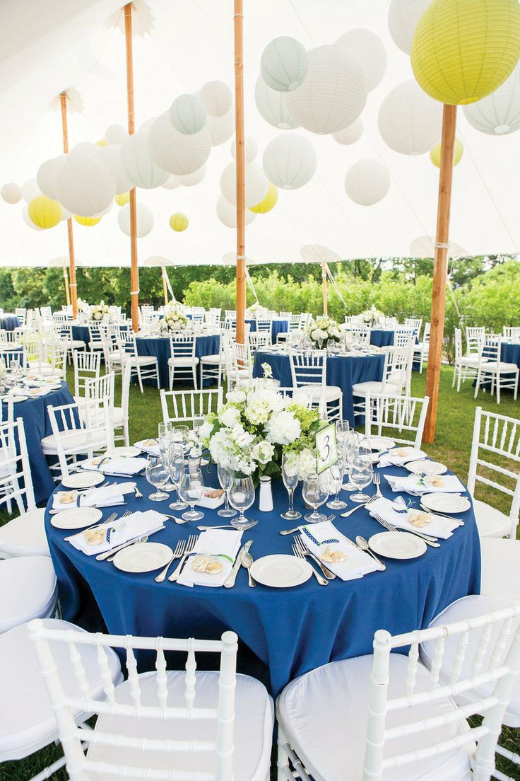 Nautical #wedding Reception Idea   Crisp, Clean And Classic   Blue Table  Cloth,