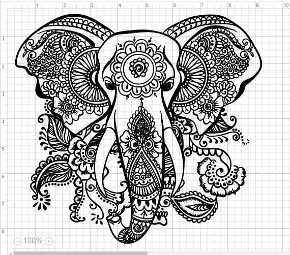 Mandala Elephant Head SVG EPS DXF Studio3 Cut Files