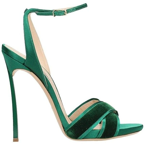 Emerald Suede Satin Sandals ($655) ❤ liked on Polyvore featuring shoes, sandals, green, green sandals, green suede shoes, casadei sandals, emerald green sandals and high heel shoes