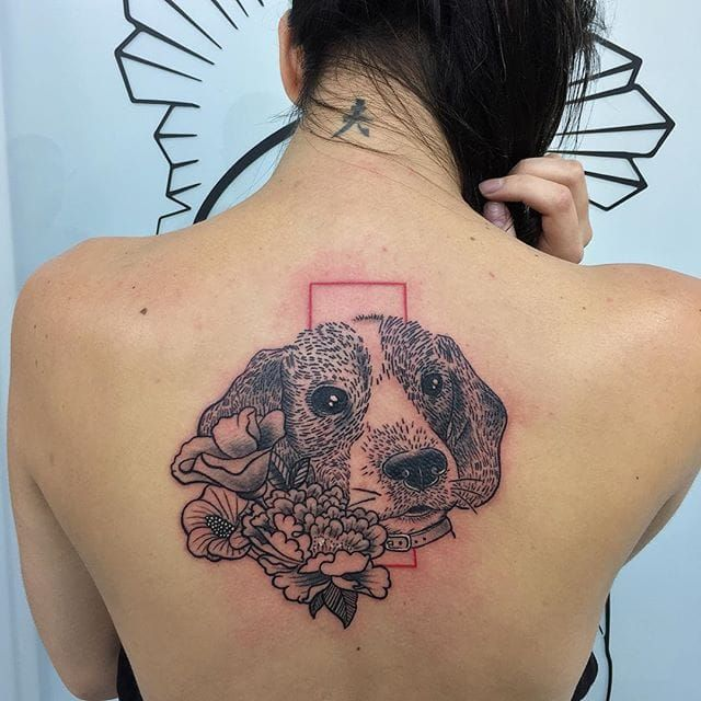 Blackwork beagle and flower back piece by Johnathan Stone. dog beagle blackwork flowers JohnathanStone