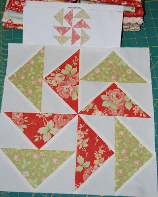 Yankee Puzzle This block will sew up quickly. Especially since you know how to make flying geese four at a time. The original pattern called for all half-square triangles. But I decided to get rid