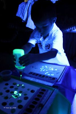 Homemade glowing paint for the little ones.  (School Glue+  a yellow highlighter + water =Glowing Paint!)