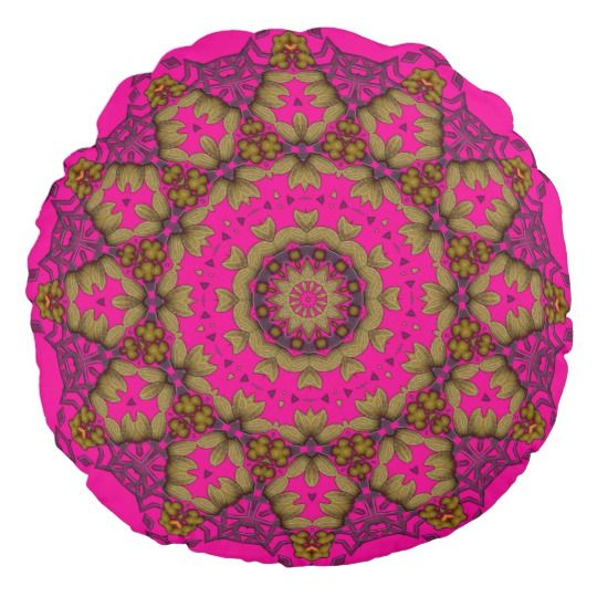 3D Art Mandala Throw Pillow by www.zazzle.com/htgraphicdesigner* #zazzle #gift #giftidea #pink #pillow #cushion #round #abstract #mandala
