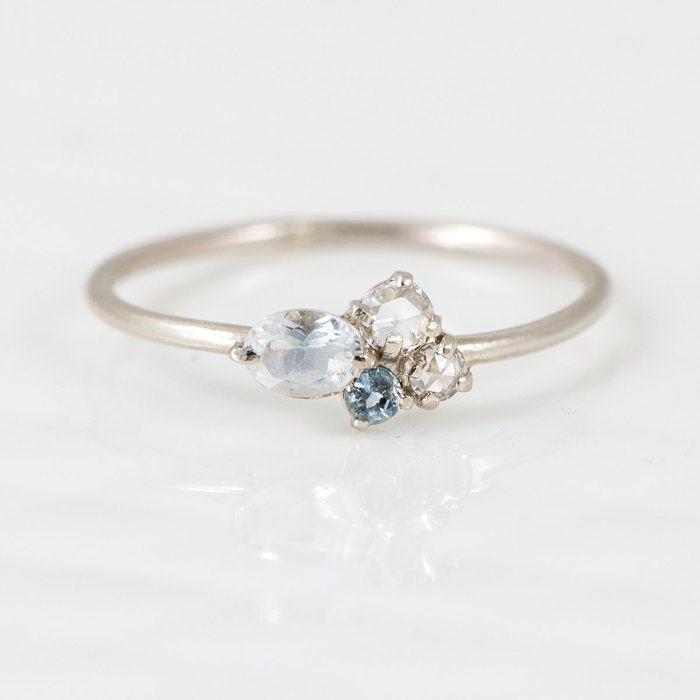 To the Moon and Back Mini Cluster Ring with Aquamarine, Moonstone and White Diamond