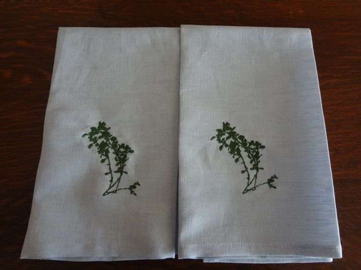 Nothing dries better than linen for tea towels! I digitized the embroidery design from a photo of a sprig of thyme in our garden.