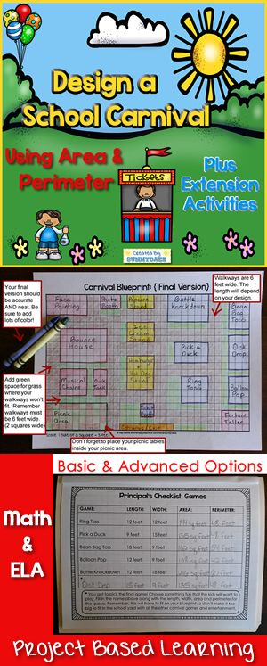 Fun project based learning! Design a school carnival using area & perimeter with ELA extension activities.