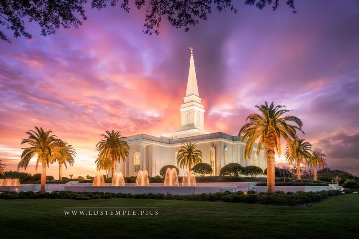 Orlando Florida Temple Pastel Sunset by Alan Fullmer | LDS Temple Pictures