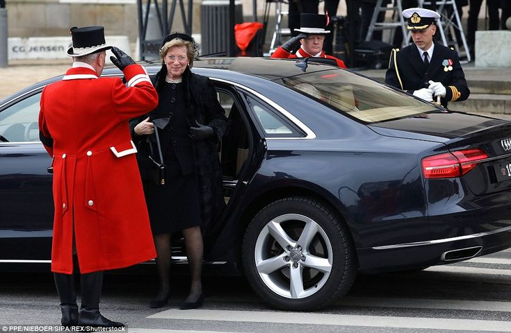 Queen Anne-Marie of Greece, the wife of King Constantine II, who reigned from 1964 until 1973, is pictured arriving at the service. Anne-Marie is also Queen Margrethe of Denmark's sister