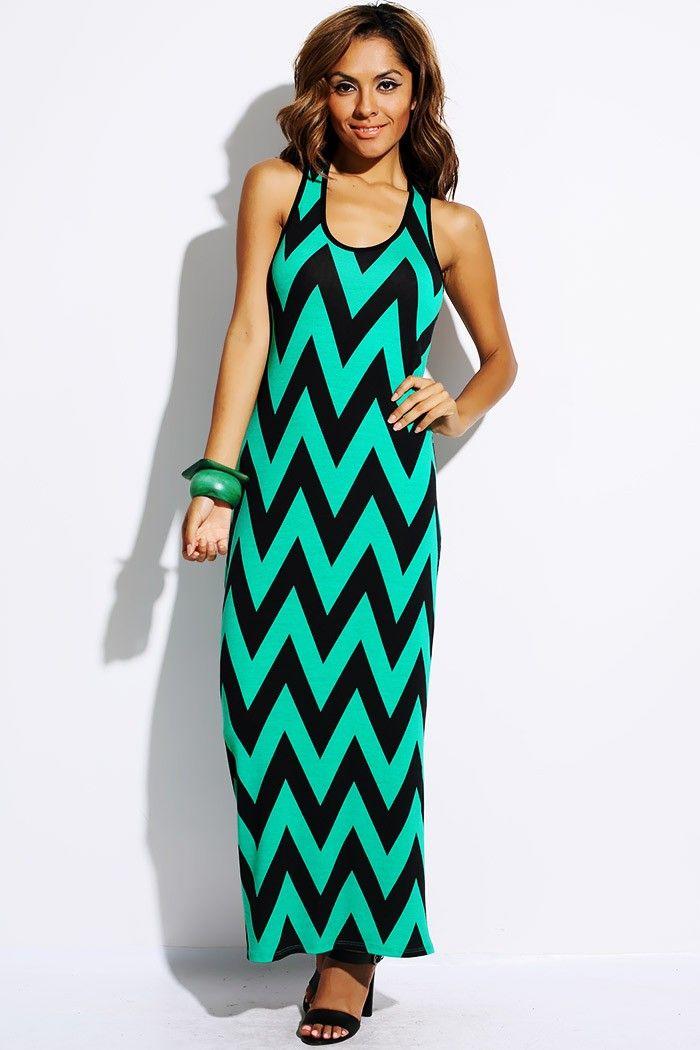 1015store Com Fashion Style Plus Size Teal Black Chevron Print