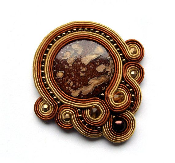 Beautiful soutache brooch brown gold handmade orange by SaboDesign, $56.00