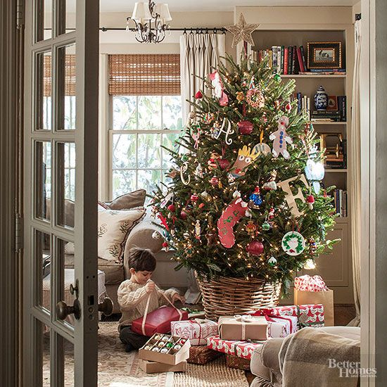 Christmas Decorating Ideas | I love how a basket is used instead of a traditional tree stand and skirt!: