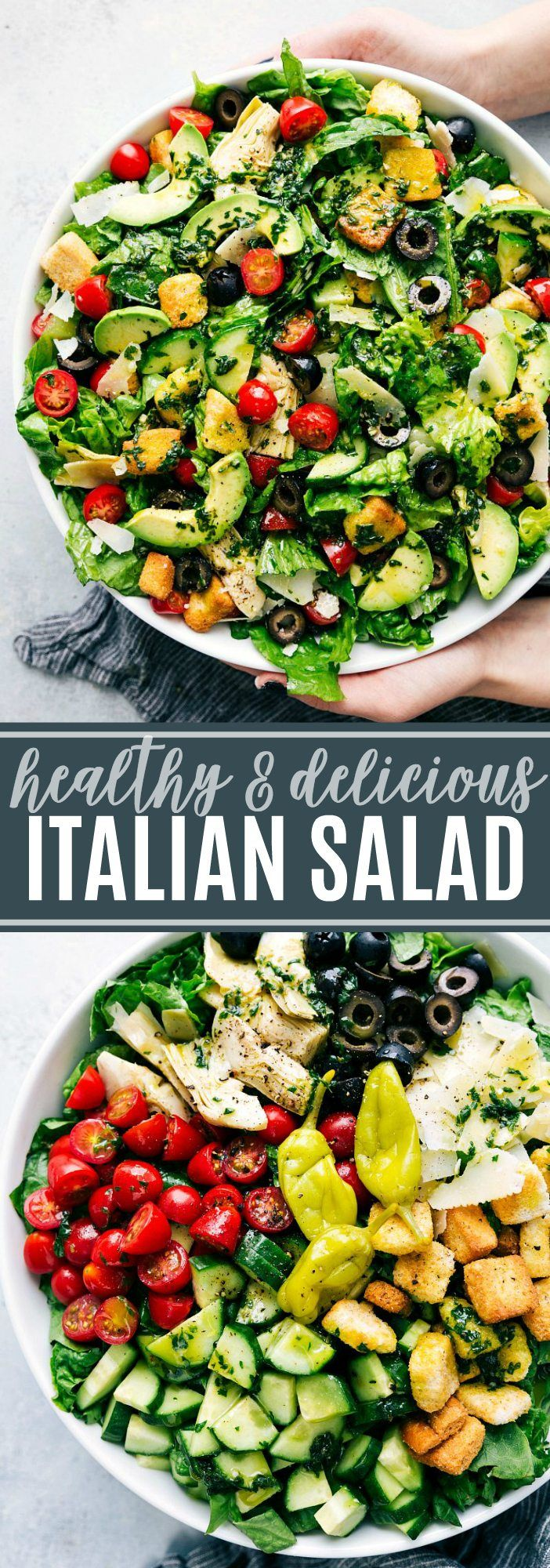 The ultimate BEST EVER Italian Salad with a healthy herb-packed dressing! via ch…  – FOOD