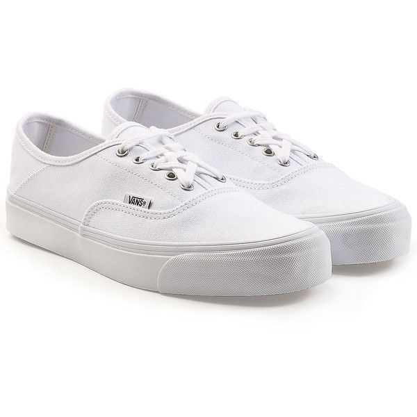 Vans x ALYX OG Style 43 Authentic Canvas Sneakers ($130) ❤ liked on Polyvore featuring shoes, sneakers, white, canvas shoes, vans trainers, white lace up sneakers, white sneakers and canvas trainers