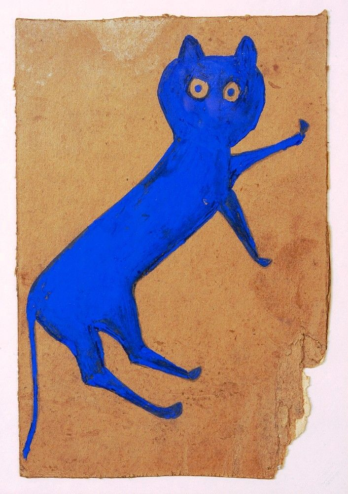 Bill Traylor, Blue Cat, 1939-1942.  In only three years, between 1939 and 1942, Bill Traylor—former slave, factory worker, and homeless welfare recipient, who slept on a wooden pallet inside the [Ross-Clayton Funeral Parlor in Montgomery, Alabama]—created his own extraordinary history of drawing in 1,800 images. Most were preserved by his friend and fellow artist, Charles Shannon.