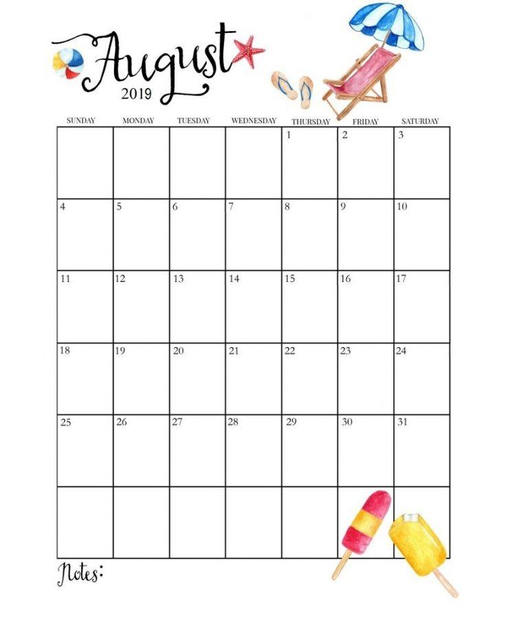 Cute August 2019 Calendar | Calendar 2019 | Monthly ...