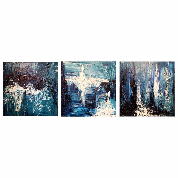 3 piece acrylic set I painted for the living room .. Different shades of Blue