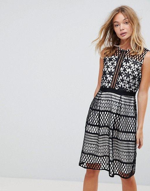 Liquorish | Liquorish Contrast Crochet Skater Dress