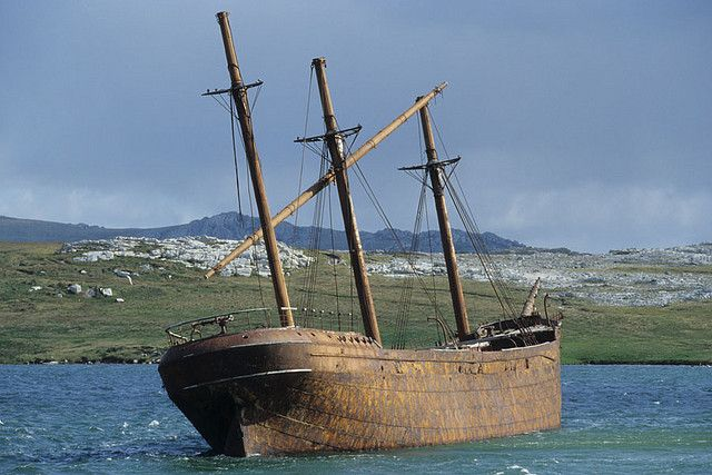 Wreck of Lady Elisabeth near Port Stanley, Falkland Islands.