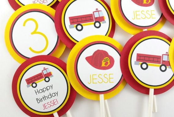 Fire Truck Party Cupcake Toppers Fire by DandelionKidsPartyCo