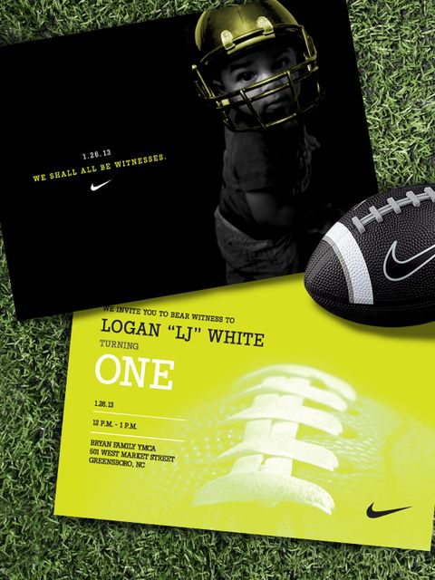 """Photo 1 of 5: Nike Football / Birthday """"LJ turns One""""   Catch My Party......love the invitation!"""