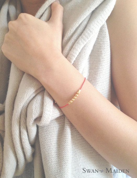 Friendship bracelet - The Lucky Charm - Red Bracelet with Gold beads - Simple Jewelry