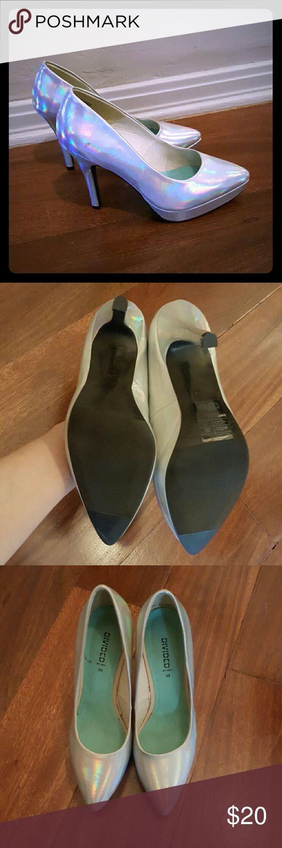 Holographic Silver Heels These smashing heels are in excellent shape. Have only been worn on stage once and never again. Divided Shoes Heels
