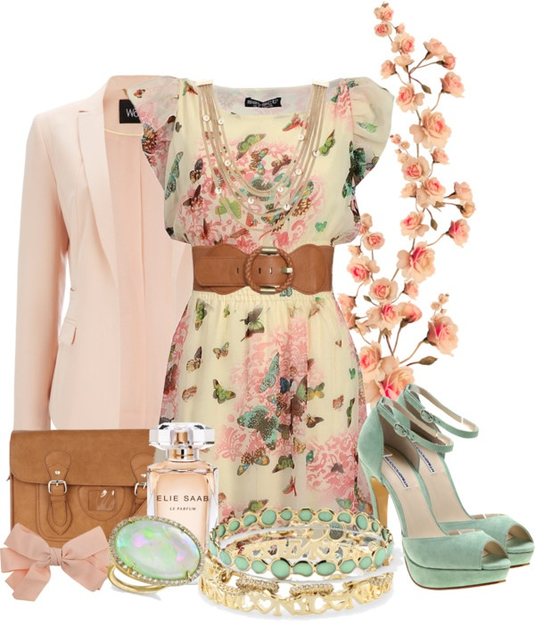 butterfly dress and turquoise shoes. Lovely to wear to a wedding or to the races