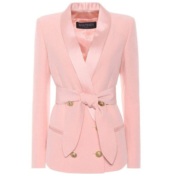 Balmain Double-Breasted Blazer ($2,405) ❤ liked on Polyvore featuring outerwear, jackets, blazers, pink, pink blazer, blazer jacket, pink jacket, double breasted blazer and pink blazer jacket