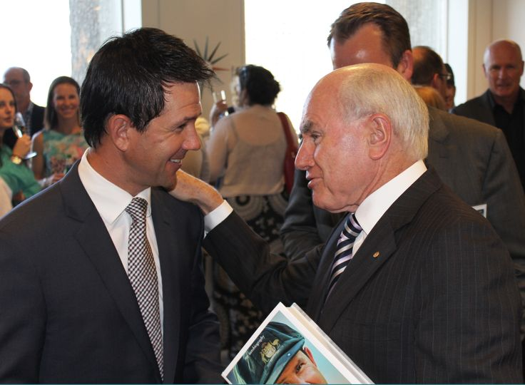 Cricket fan and former Prime Minister,The Hon. John Howard was on hand to help Ricky Launch his book.