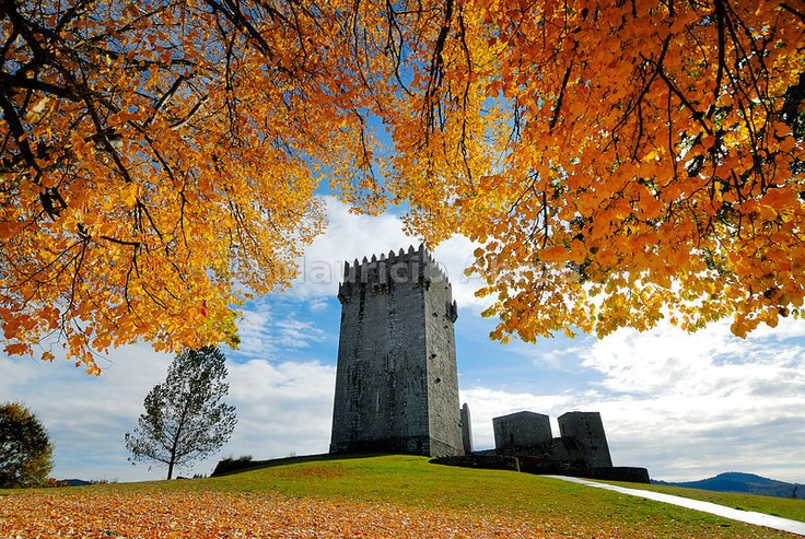 The medieval castle of Montalegre, dating from the 13th century, at sunset in Autumn. Trás-os-Montes, Portugal