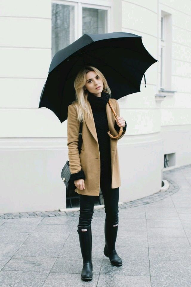 rain boots and camel coat