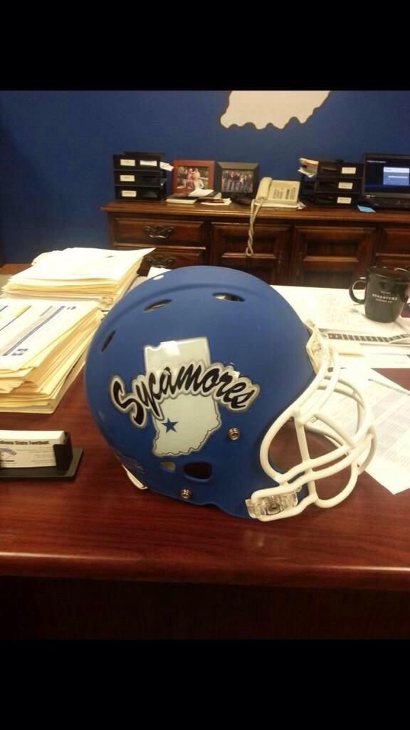 Check out the new football helmets and helmet decal design Indiana State University Football will be wearing this season. The decals incorporate a slight silver chrome accent.