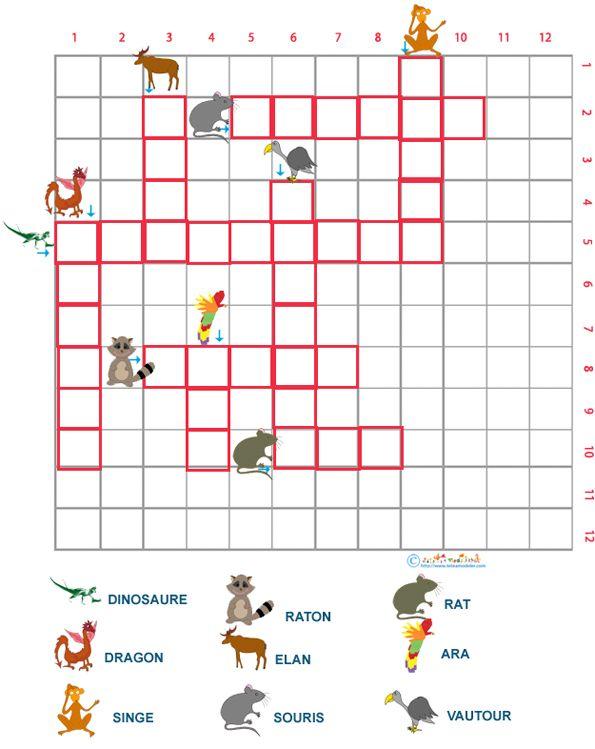 Grille de mots croisés sur les animaux grille 8