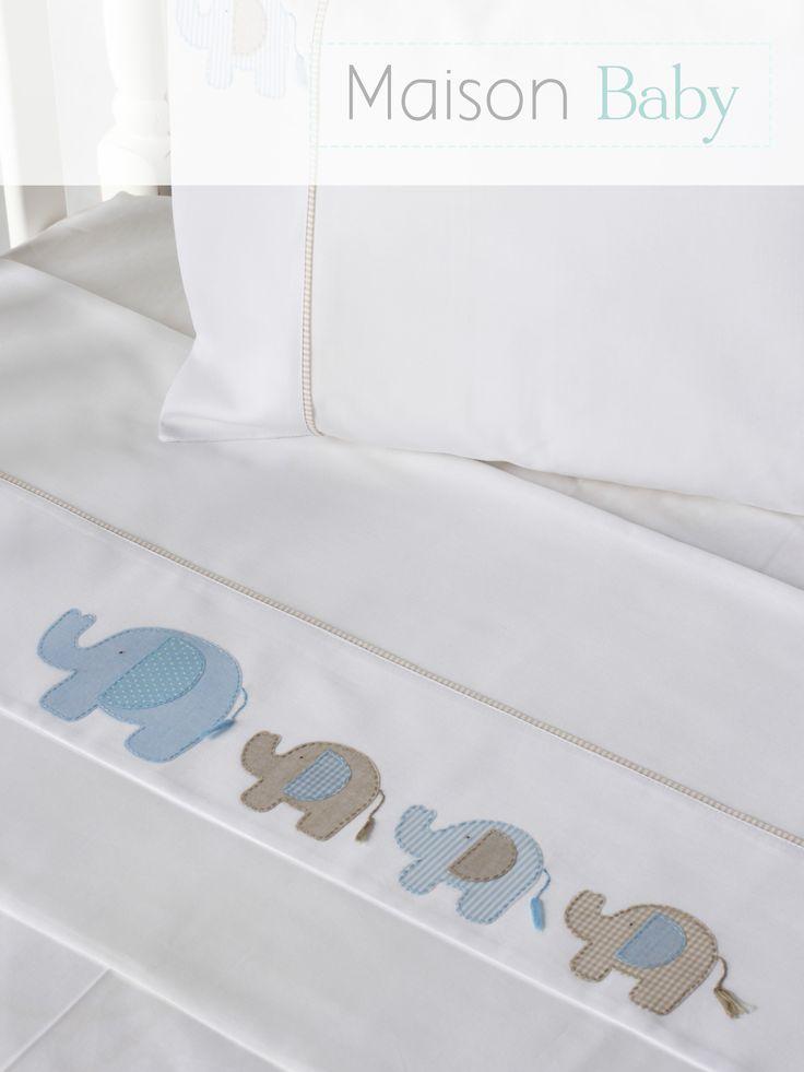Lençol de berço 3 peças Elefante em percal 250 fios, 100% algodão. Crib sheet…