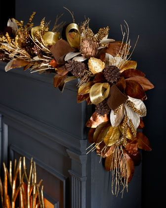 6\' Chocolate, Copper, & Gold Garland at Horchow.