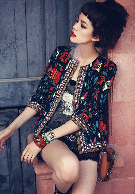 Black Floral Embroidery 3/4 Sleeve National Style Jacket