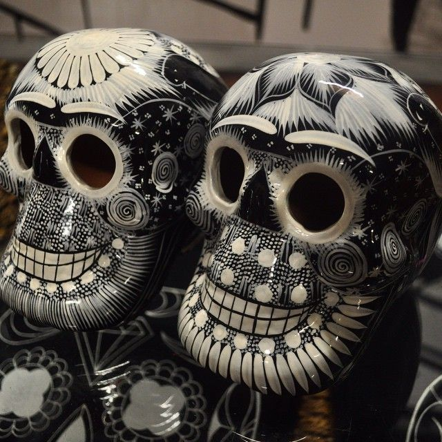 K Loco day of the dead black and white Mexican skulls handmade by indigenous tribes in Mexico.