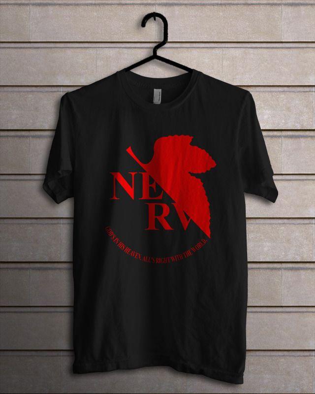 Neon Genesis Anime Evangelion NERV Black T-Shirt - T-Shirts, Tank Tops