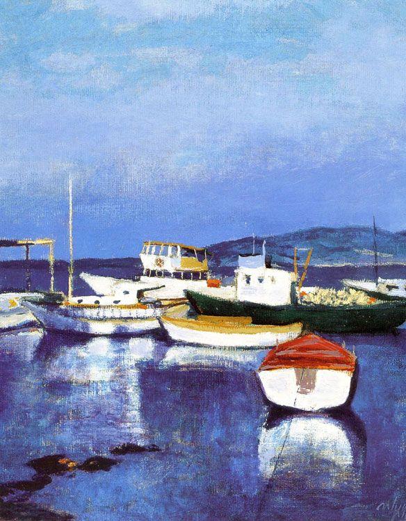 """intro-1980 Nuri İyem , 1937 yılında Güzel Sanatlar Akademisi'nde yaptığı sınıfında ilk Çıkış ve ileri resim bölümünden mezun, o """"yeni"""" grubunun bir üyesiydi. 1989 yılında kazandı Görsel Sanatlar Sedat Simavi Vakfı. Yeniköy balıkçı limanı ahşap panel üzerine yağlıboya 40 x 40 cm - Özel Koleksiyon"""