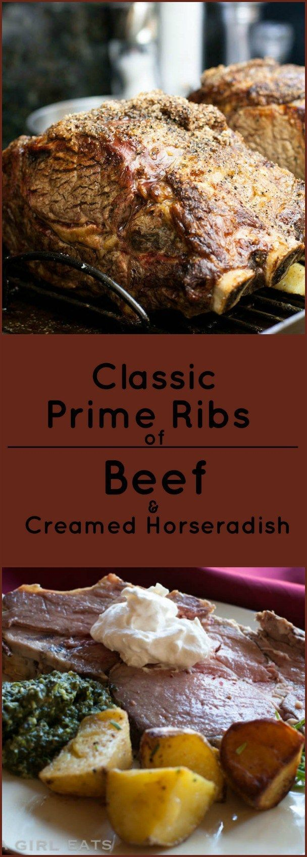 Classic prime ribs of beef with creamed horseradish, just like Lawry's Prime Rib Restaurant. Gluten free! Paleo.