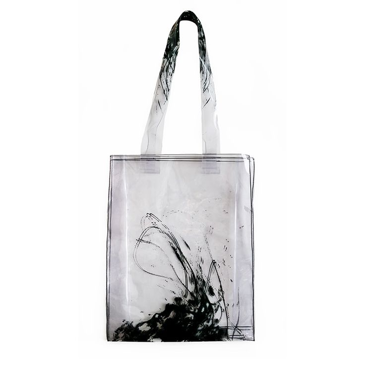 Large shoulder bag. Made from transparent silicone imprinted with abstract…