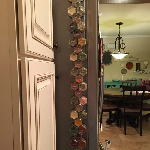 Kitchen space savers - Magnetic spice rack for the side of the refrigerator
