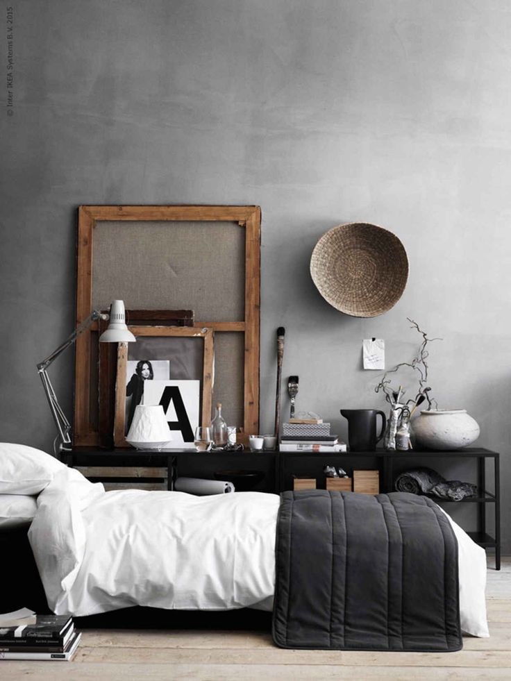 Rustic and elegant decor at the same time. Bedroom decoration, gray wall