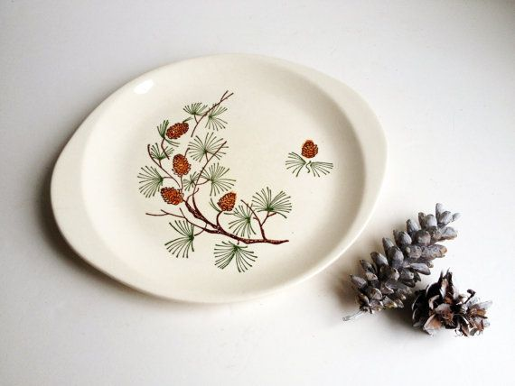 Mid-century modern pine cone chop plate, Stetson Marcrest oval platter, holiday serving party tray, green brown Christmas dinnerware 1950s