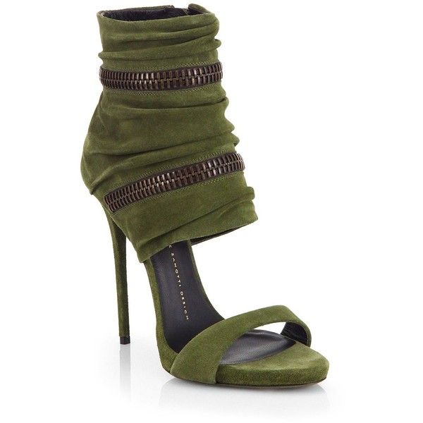 Giuseppe Zanotti Suede Wraparound Zipper Sandals (€1.040) ❤ liked on Polyvore featuring shoes, sandals, heels, apparel & accessories, military green, heeled sandals, green sandals, cushioned shoes, military shoes and wrap sandals