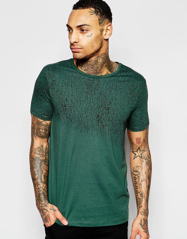 ASOS+T-Shirt+With+Crackle+Yoke+Print