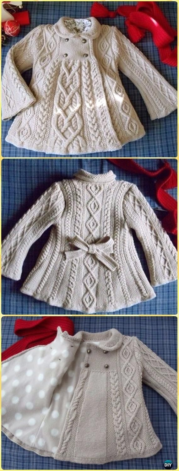 Cable Knit Elizabeth Coat Free Pattern - Knit Baby Sweater Outwear Free Patterns