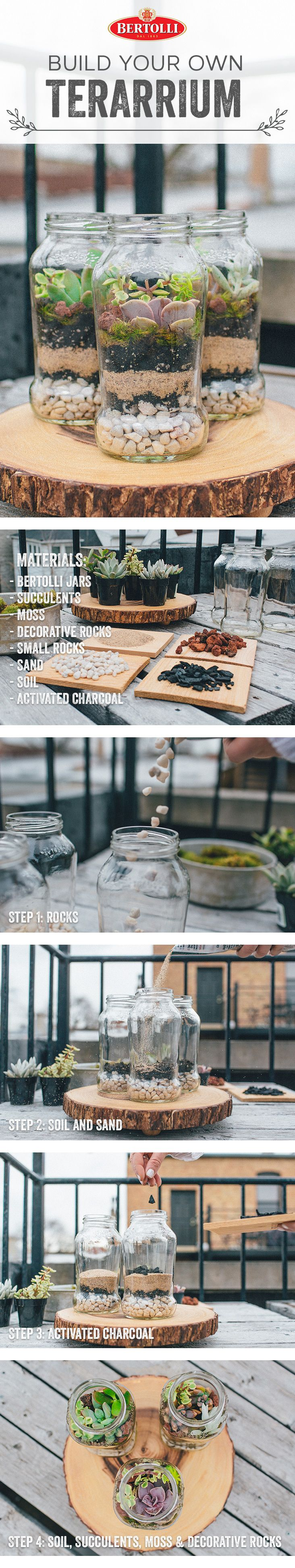 Terrariums are popular home décor, but can be a bit pricey. For a DIY alternative, thoroughly clean and repurpose a few Bertolli® bottles by layering lava rock, charcoal, topsoil and succulents (available at your local garden shop) inside each one. Create 2-3 terrariums to put on your kitchen windowsill or an accent shelf.