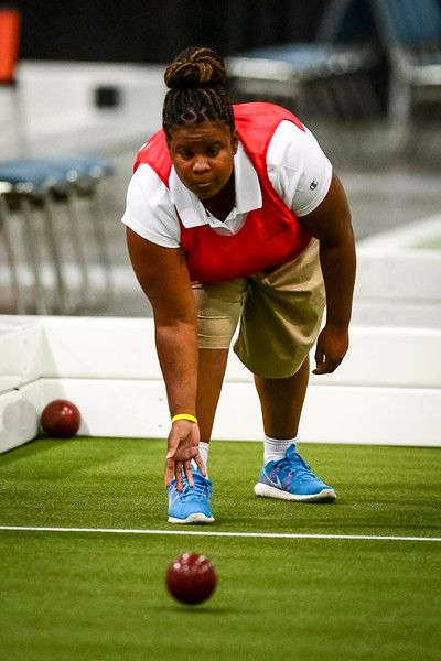 . Tiaunta Gray of Compton plays Bocce for team USA at the Special Olympics Monday, July 27, 2015.  The team went on to defeat Panama and win the gold medal.   (photo by David Crane/Los Angeles Daily News)