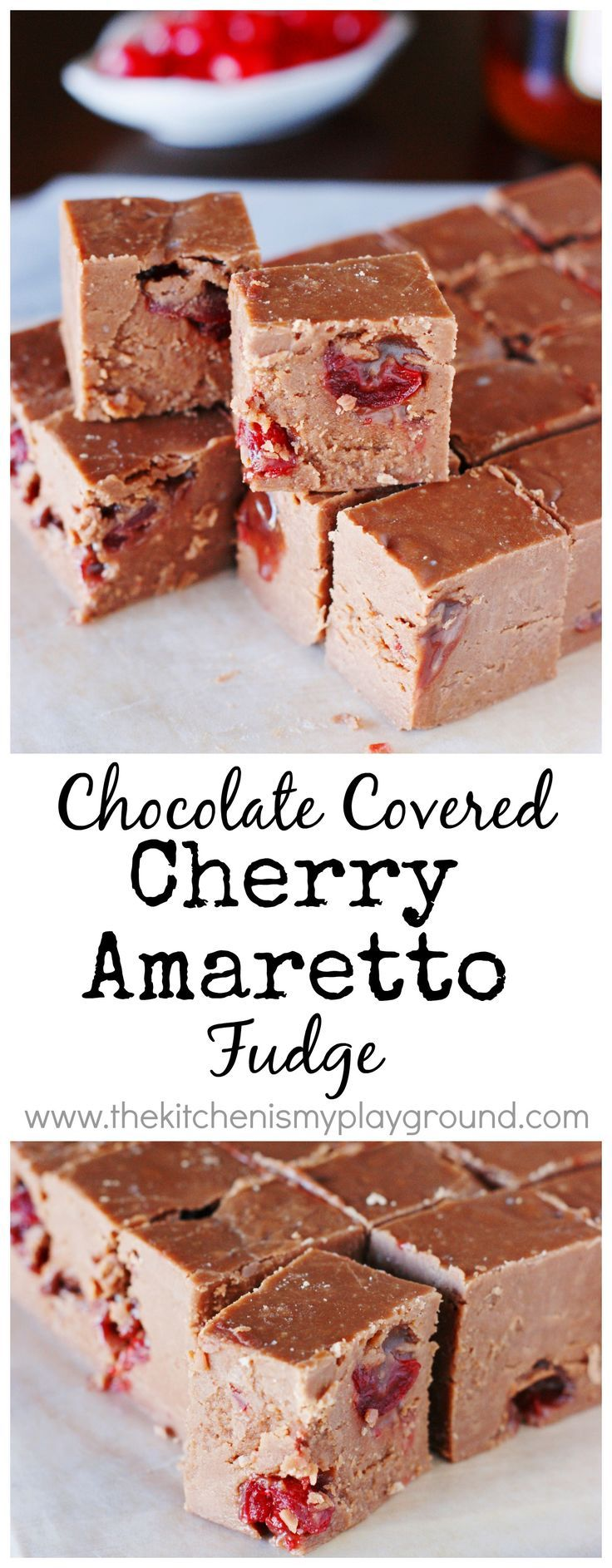 Chocolate Covered Cherry Amaretto Fudge ~ the wonderful flavors of chocolate, maraschino cherries, and Amaretto liqueur combine in this rich and delicious fudge. #Christmas #desserts #candy